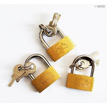 HAND ® Pack of 3 Goldleaves Brass Luggage Padlocks 30mm