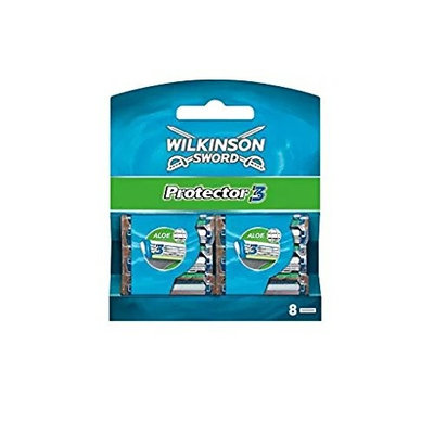 Wilkinson Sword Protector 3 Refill Cartridges Razor Blades, 8 Count (Comparable to Schick Protector) + FREE Travel Toothbrush, Color May Vary