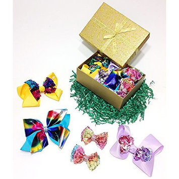 Sparkly Sequin & Rhinestone Fancy Hair Bow Clips Gift Set for Girls (Yellow, Lavender, Turquoise & Tie Dye)