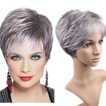 Lady Miranda Gray-White Color Short Layer Nature Curly with Bangs Synthetic Wig Heat Resistant Weave Full Wigs for Women