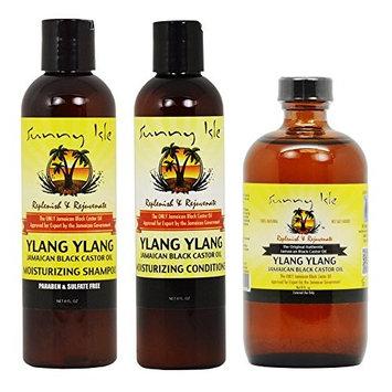 Sunny Isle Moisturizing Ylang Ylang Shampoo & Conditioner & Ylang Ylang Black Castor Oil 8oz