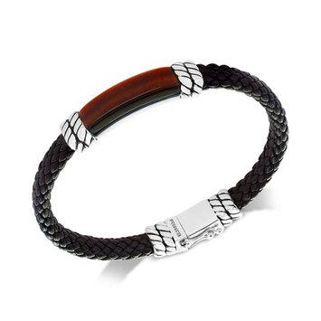 EFFY® Men's Tiger's Eye Brown Leather Bracelet in Sterling Silver