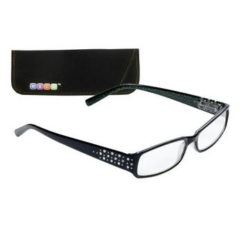 Select-A-Vision Deco Trendy Reading Glasses, Full Plastic Frame w/Design, Green, 1.50