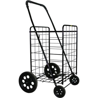 Lavohome DLUX Shopping Folding Cart Strong Frame Solid Rubber Tires Great for Laundry Fishing (Black)