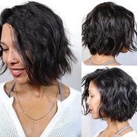 NiceToBuy Glueless Short Wavy Bob HairCut Brazilian Virgin Human Hair Lace Front Wigs for Women #1b Natural Black Color 10inch