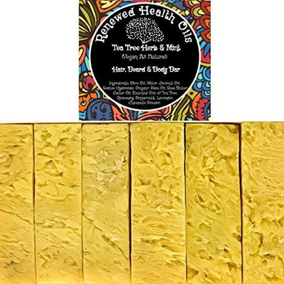 Handmade Bar Soap Tea Tree Herb & Mint Anti-Bacterial All-In-One HAIR/BEARD/BODY 100% Pure Essential Oils No Synthetic Fragrances Added (6) 4.5 oz Vegan