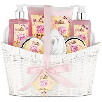Pink Peony Spa Bath Gift Basket Set for Women by Giftsational | Has Bubble Bath, Shower Gel, Body Scrub, Body Lotion, Bath Salts, Body Cream, | Great Present for Birthday, Holiday