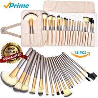 Kabuki Brush Set 18 PCS - Makeup Brush Set - Curling Makeup Brushes With Case Wand Blush Concealer Eye Face Liquid Brush Tool Brushes Kit Eyeliner Face Powder Lip Brush ( White Case Bag)