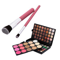 MagiDeal 95 Colors Matte Shimmer Eyeshadow Blush Concealer Powder Palette with 2 Pieces Face Eye Comestic Brushes Set