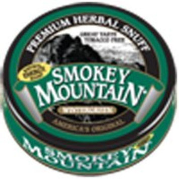 Smokey Mountain Herbal Snuff - Wintergreen - 1-Can - Nicotine-Free and Tobacco-Free - Herbal Snuff - Great Tasting & Refreshing Chewing Tobacco Alternative [Wintergreen]