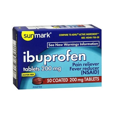 sunmark Pain Relief 200 mg Strength Tablets, 50 per Bottle