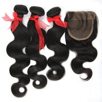 Eayon Hair® 3 Bundles Brazilian Virgin Hair Body Wave with 1 Piece Lace Closure (4*4) Natural Color Human Hair Extensions (20
