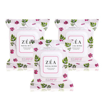 ZEA Makeup Remover Wipes Infused with Rose Hip Essential Oil Alcohol-Free & Paraben-Free 30 Wipes Per Package 3 Packages Total