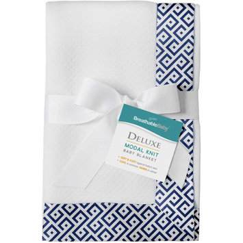 BreathableBaby(R) Deluxe Modal Knit Baby Blanket - Diamond Navy