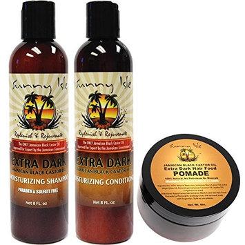 Sunny Isle Extra Dark Jamaican Black Castor Oil Shampoo, Conditioner 8oz & Extra Dark Hair Food Pomade 4oz