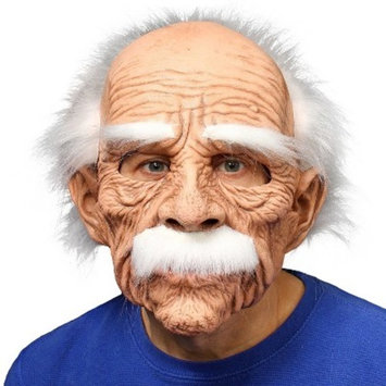 Grand Dad Full Mask with White Hair Eyebrows & Mustache