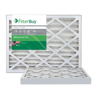 AFB Silver MERV 8 12x16x2 Pleated AC Furnace Air Filter. Filters. 100% produced in the USA. (Pack of 2)