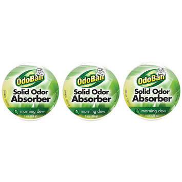 OdoBan Solid Odor Absorber Eliminator 3 Pack for Small Spaces, Morning Dew