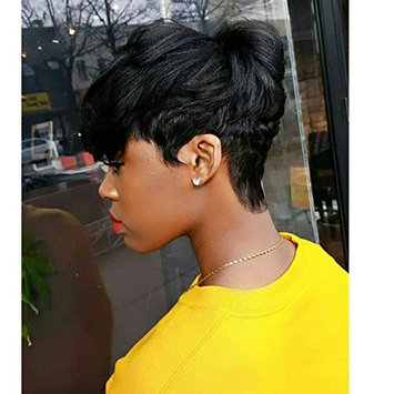 Short Pixie Cut Wigs For Black Women, UDU None Lace Front Wigs 80g Short Wavy Wig, 100% Human Hair Short Slight Curly Wigs 100% Real Virgin Human Hair Short Stylish Wig with Bangs