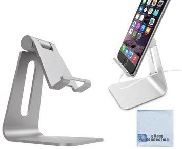 eCostConnection Aluminum Stand for Smartphones, Tablets (Silver) & Microfiber Cloth