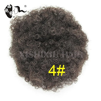 Synthetic Curly Hair Ponytail African American Short Afro Kinky Curly Wrap Synthetic Drawstring Puff Ponytail Hair Extensions Wig with Clips