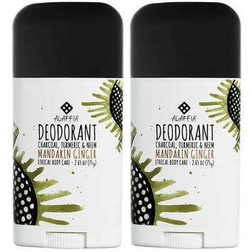 Alaffia - Neem Turmeric Activated Charcoal Deodorant, Odor Protection and Support from Shea Butter and Aloe Vera, Fair Trade, No Aluminum, No Parabens, Mandarin Ginger, 2.65 Ounces (2 Pack)