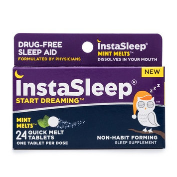 InstaSleep Mint Melts   Drug-Free Sleep Aid   Fast Dissolve-In-Mouth Tablets   Non-Habit Forming   Gluten-Free, Lactose-Free, Kosher, Vegan