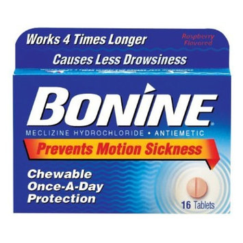 Bonine Raspberry Chewable Tablets For Motion Sickness, 16 (2 Pack)