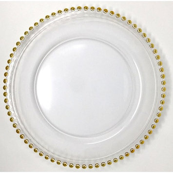Spectacular Glass Dinnerware Formal 13-Inch Gold Beaded Rim Clear Glass Charger Plate Wedding Party Dinner Modern Appeal Glass Plates (4)