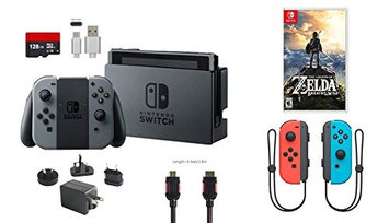 Ushopmall & Nintendo Nintendo Switch Bundle (7 items): 32GB Console Gray Joy-con, 128GB Micro SD, Joy-Con (L/R)-Neon Red/Neon Blue, The Legend of Zelda: Breath of the Wild, Type C Cable, Wall Charger