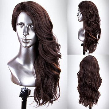 Persephone Glueless Brown Synthetic Wig with Blonde Highlights Full Machine Made Wavy Wigs for Women Heat Resistant 18 Inches