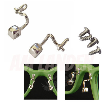 AM Landen Eyeglass Nose Pad Arm Stainless Steel Nose Pad Holder Screw in/Push on Type Eyeglass Parts (Style B)