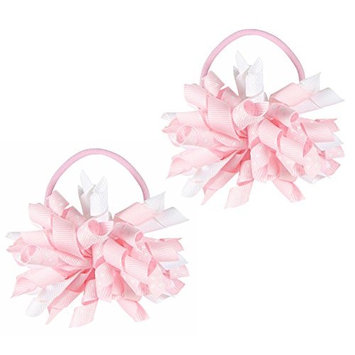 Hair Ties, HipGirl Boutique Elastic Hair Ties for Girls/ Women, Korker Ribbon, Ponytail Holder, Hair Bows, Cheer Bows (1 Pair Blue mist Korker Pony Holder)