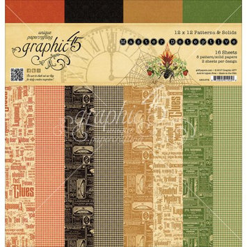 Notions Graphic 45 Double-Sided Paper Pad 12'X12' 16/Pkg Master Detective Print/Solid