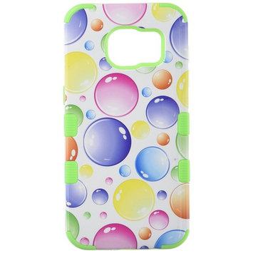Asmyna Cell Phone Case for Samsung Galaxy S7 Edge - Rainbow Bigger Bubbles/Electric Green