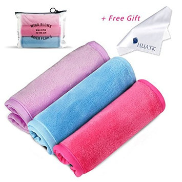 Makeup Remover Cloth Clean Towel - Washable Reusable Cleansing Towel, Natural Environmental Cleansing Towel with Water Only,HUATK (1pink+1rose+1blue)