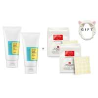 5 Items Bundle : COSRX Acne Pimple Master Patch 24 Pimple Remover Acne Spot Treatment Patches ( X 3) & COSRX Low ph Good Morning Gel Cleanser for Acne Treatment + FACIAL-MASK Headband.