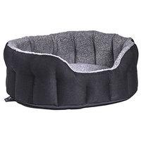 P&L SUPERIOR PET BEDS LTD Premium Oval Drop Fronted Heavy Duty Basket Weave Fleece Lined Softee Bed, Medium, 61 x 51 x 22 cm, Black/Grey(size 4)