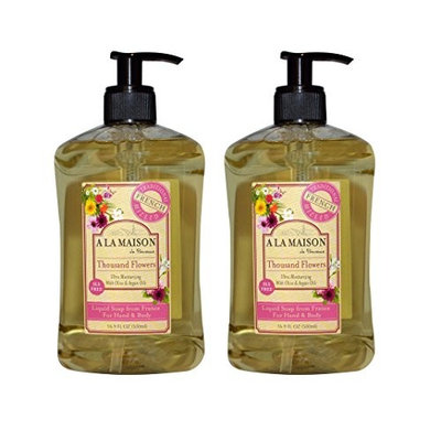 A La Maison de Provence Thousand Flowers Liquid Hand and Body Soap (Pack of 2) With Olive Oil, Argan Oil and Vitamin E, 16.9 fl. oz. Each