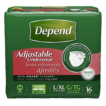 Depend Adjustable Incontinence Underwear, Maximum Absorbency, L/XL (Pack of 3)