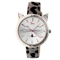 Women's Boum Miaou Watch with Genuine Leather Fur-Overlaid Strap