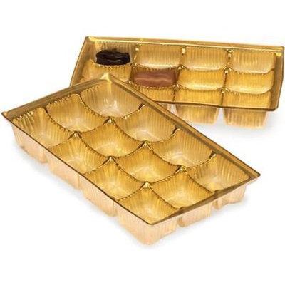 1 Unit 1/2 lb Medium Gold Candy Trays Bulk 8x4-1/4x1