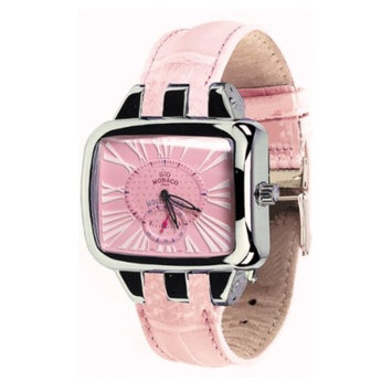Gio Monaco Women's 222-A Hollywood Rectangular Pink Alligator Leather Watch