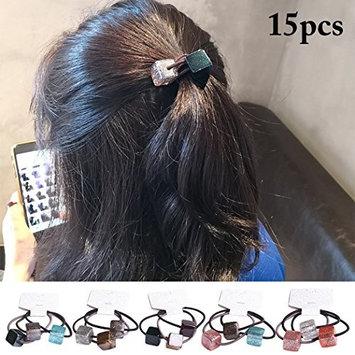 Fascigirl 15PCS Ponytail Holder Elastic Shiny Square Pendant Hair Band Hair Rope Hair Tie for Women