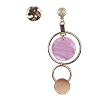 Kercisbeauty Unique Boho Halo Open Circle Pendant Silver and Pink Earrings Studs with Rhinestones Dangles for Women and Girls,Bar,Party,Perfect Gift for Her,Birthday,Anniversary Gift,Daily,Party