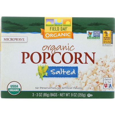 Field Day Microwave Popcorn - Organic - Salted - 3/3 oz - case of 12