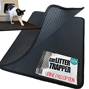 Large Cat Litter Trapper Mat With Exclusive Urine/Waterproof Layer. Larger Holes with Urine Puppy Pad Option for Messy Cats. Soft on Paws and Light. By iPrimio.