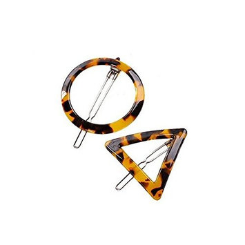 2 Pairs Geometric Shape Leopard Hair Clips-Women Girls Hair Claw Clamps Hairpin Barrettes Styling Accessories Hair Fringe Grip