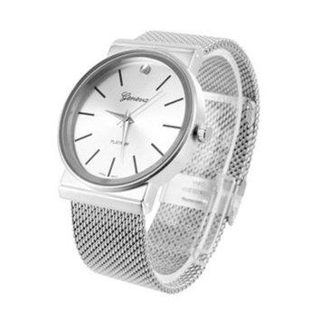 Mens Geneva Platinum Watch Mesh Band White MOP Dial Analog Party Wear Luxury