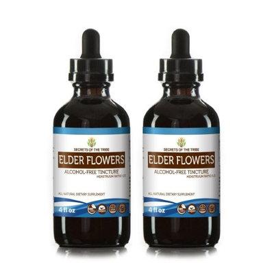 Secrets Of The Tribe Elder Flowers Tincture Alcohol-FREE Extract, Organic Elder flowers (Sambucus Nigra) Dried flowers 2x4 oz